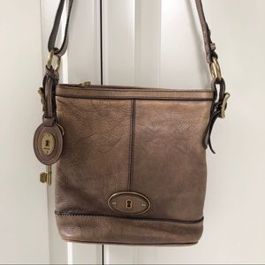 Leather fossil crossbody bag